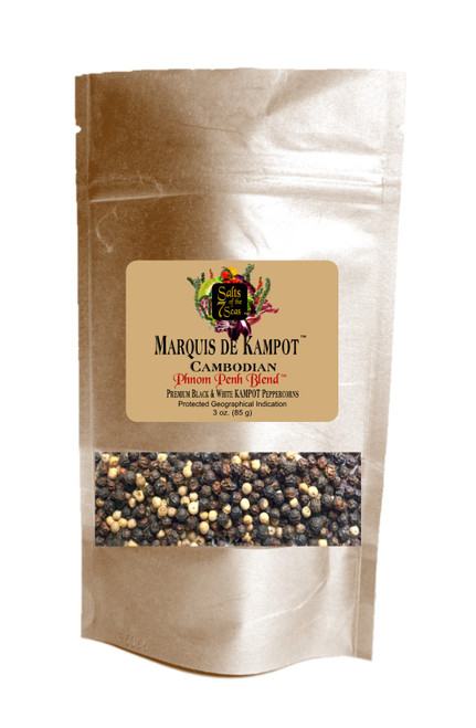 Phnom  Penh Blend Kampot peppercorns are a blend of black and white peppercorns from Cambodia.