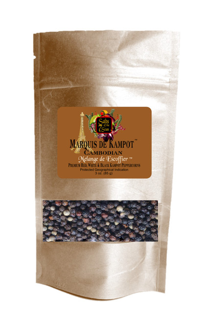Kampot Rouge peppercorn is a blend of  red, white and black peppercorns from Cambodia.