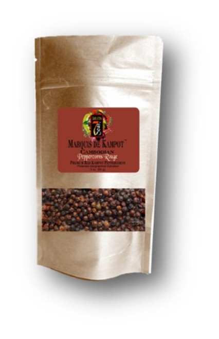 Kampot Rouge peppercorns are  organic red peppercorns with  a fruity and less spicy taste.