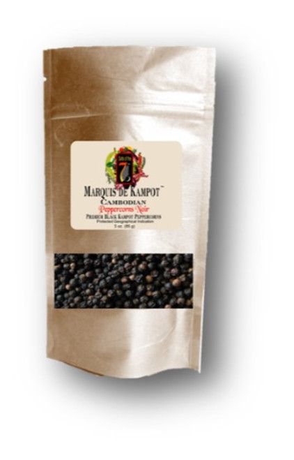 Kampot Peppercorn Noir Peppercorns are a black peppercorn from Cambodia. This rare peppercorn is a chef favorite with  a heat but sweet taste.