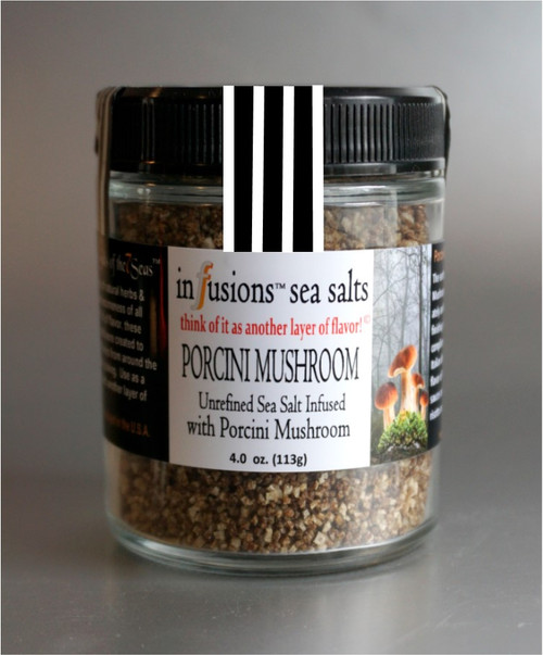 Porcini Mushroom infused sea salt has the concentrated flavor of porcini mushroom combined with an exotic sea salt.