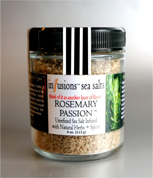 Rosemary Passion infused sea salt fuses the fresh rosemary herb with our exotic sea salt to produce a fragrant finishing salt!