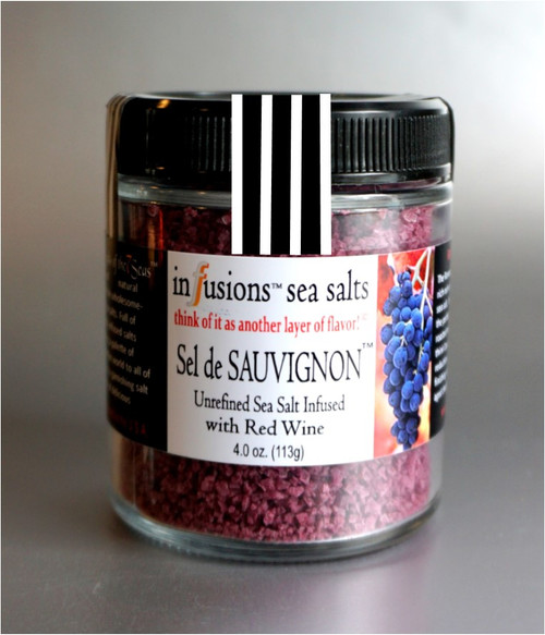 Sel de Sauvignon infusion sea salt is a fusion of red wine and all natural sea salt. A perfect condiment on: roasted meats, pasta, chicken , sauces, and of all things, cheddar cheese!