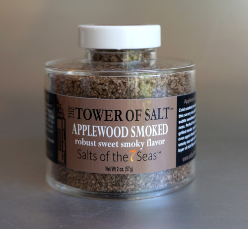 Applewood smoked sea salt is a smoked sea salt that has a savory flavor. Presented in a heavy acrylic jar that stacks for easy storage.