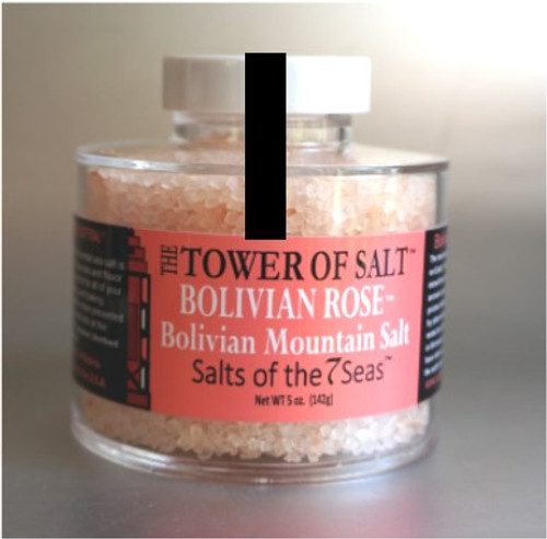 Bolivian Rose sea salt is a pink sea salt from the mountains of Bolivia. Presented in a heavy acrylic jar that stacks for easy storage.