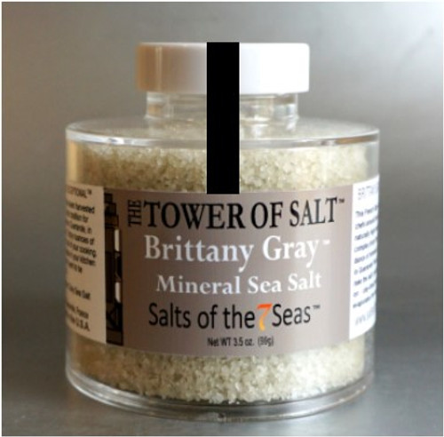 Brittany Gray sea salt is a moist french coarse gray sea salt.  Presented in a heavy acrylic jar that stacks for easy storage.