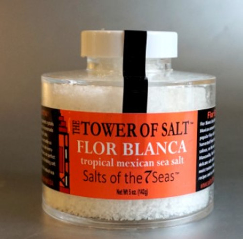 Flor Blanca sea salt is a hand harvested sea salt from Manzanilla, Mexico. It is a delicate and fluffy white salt. Presented in a heavy acrylic jar that stacks for easy storage.