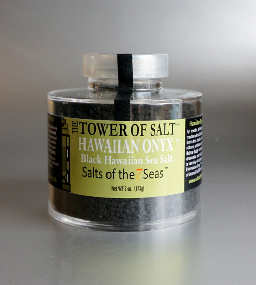 Hawaiian Onyx sea salt a black sea salt that was created by the addition of activated charcoal from the shells of coconuts. Presented in a heavy acrylic jar that stacks for easy storage.