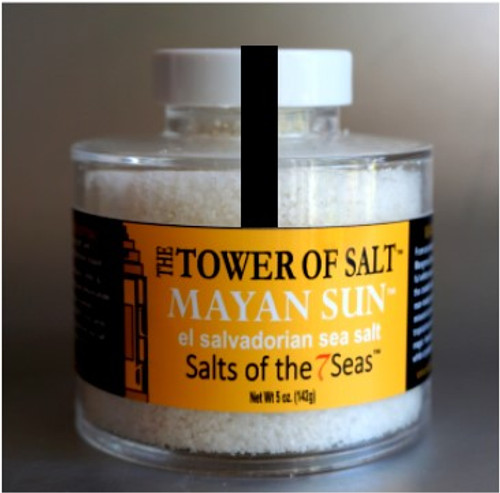 Mayan Sun sea salt has snowy white crunchy crystals that come from the mineral rich volcanic soil of El Salvador. Presented in a heavy acrylic jar that stacks for easy storage.
