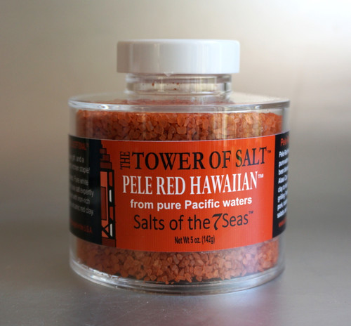 Pele Red Hawaiian Sea Salt is a red sea salt that gets it's color from the Hawaiian clay in the soil where the salt is havested. Presented in a heavy acrylic jar that stacks for easy storage.