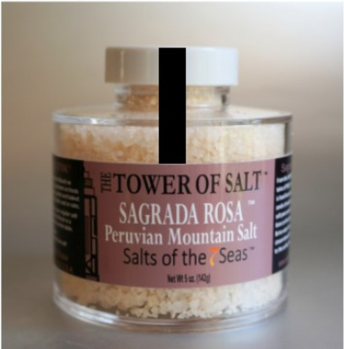 Sagrada Rosa sea salt is a pink sea salt harvested from the  mountains of Peru. Presented in a heavy acrylic jar that stacks for easy storage.
