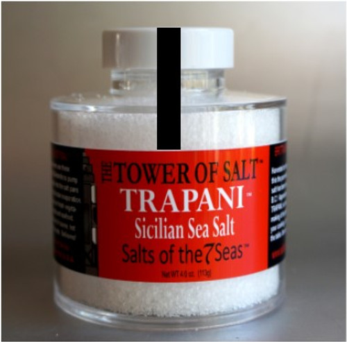 Trapani Sicilian sea salt is a sea salt form the shores of Sicily.  Presented in a heavy acrylic jar that stacks for easy storage.