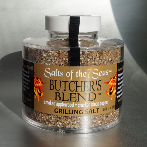 Butchers Blend Griller seasoning combines the applewood smoke flavor with sea salt and black peppercorns. Presented in a heavy acrylic jar that stacks for easy storage.