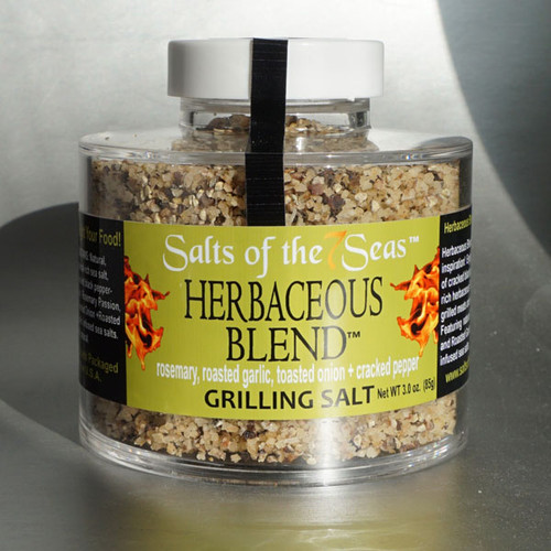 Herb infused sea salt blend featuring rosemary, toasted onion and peppercorns.  Presented in a heavy acrylic jar that stacks for easy storage.