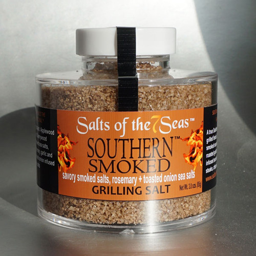 Southern Smoked Griller Blend has two smoked sea salts combined with rosemary and garlic. Presented in a heavy acrylic jar that stacks for easy storage.
