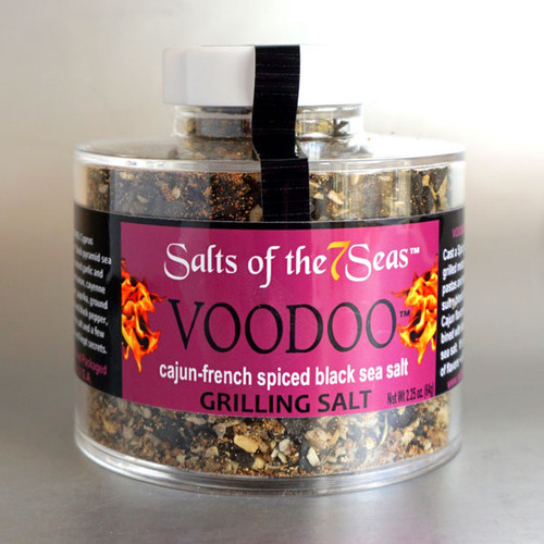 Voodoo French Cajun Griller Seasoning is a cajun blend that pairs garlic, toasted onion, cayenne pepper, sea salt and peppercorns with tangy lime. Presented in a heavy acrylic jar that stacks for easy storage.