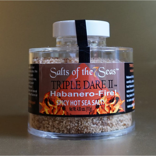 Triple Dare II Griller Blend combines habenero peppers with  natural sea salt.  Presented in a heavy acrylic jar that stacks for easy storage.