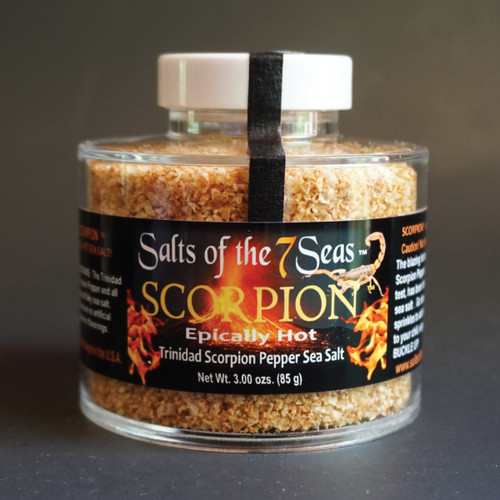 Scorpion Griller Seasoning has the world's hottest Trinidad scorpion pepper infused into this sea salt.  Presented in a heavy acrylic jar that stacks for easy storage!