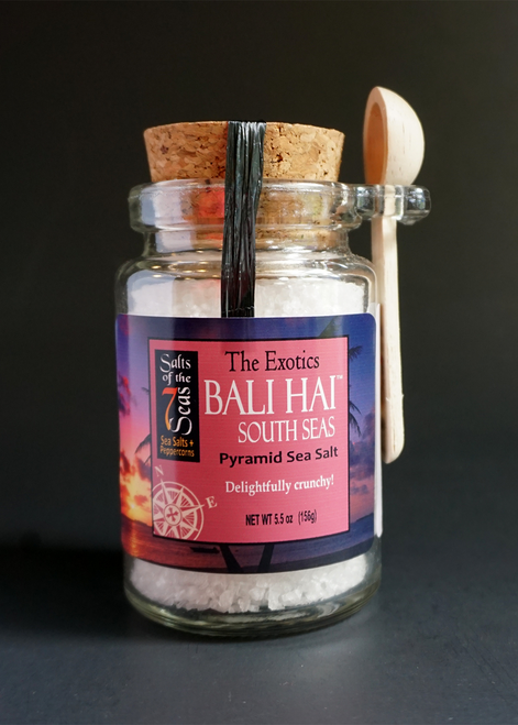 Bali Hai exotic sea salt, pyramid flake sea salt, Indonesia on Indian Ocean, subtle, salty flavor, snow white, cork jar and spoon