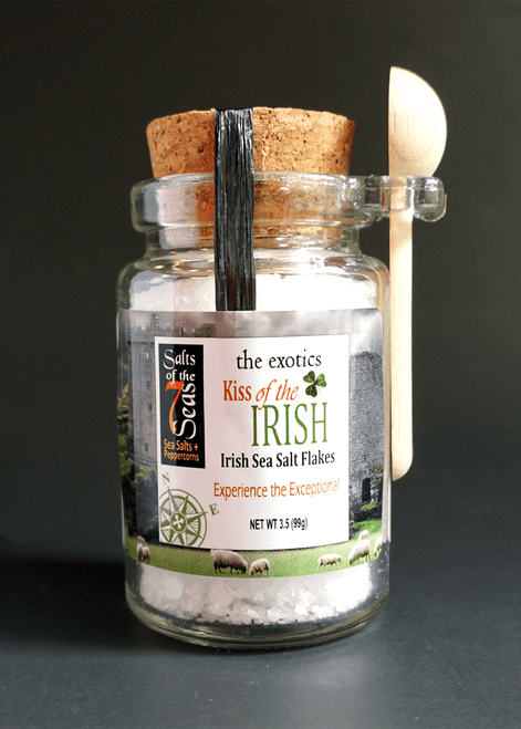 Kiss of the Irish exotic sea salt is an Irish sea salt that has a subtle, delicate flavor and a moist  flaky texture.