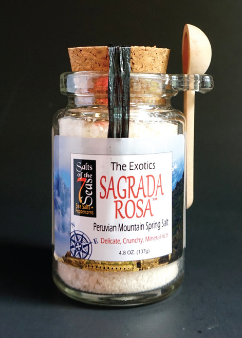 Sagrada Rosa Exotic sea salt is a delicate pink sea salt that is mineral rich and mined from the mountains in Peru. Presented in a glass cork jar with it's own spoon!