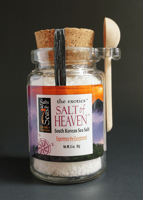Salt of Heaven Exotic sea salt is a white and crunchy sea salt from South Korea.