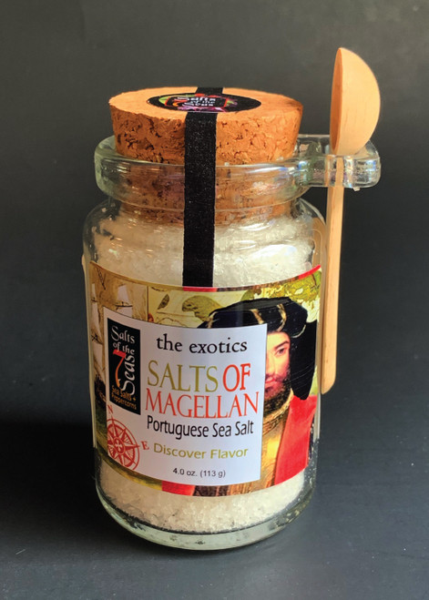 Salts of Magellan exotic sea salt, Portuguese sea salt, fluffy white sea salt, hand harvested, cork jar with it's own spoon