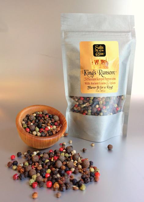 King's Ransom refill peppercorns, bag, Kampot peppercorns, blend of peppercorns, gourmet gift
