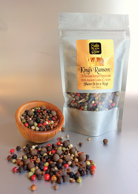 King's Ransom  peppercorn refill bag features Kampot and other exotic  peppercorns in a blend creating the perfect condiment for  any grinder.