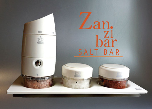 Zanzibar Salt Bar has a Peugeot grinder with interchangeable compartments containing Tibetan Rose sea salt, Sal De Italia sea salt and Pele Red Hawaiian sea salt.