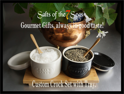 Set of Portuguese gourmet sea salt and pepper crocks presented on a bamboo tray, complete with it's own wooden spoons. Perfect gourmet gift!