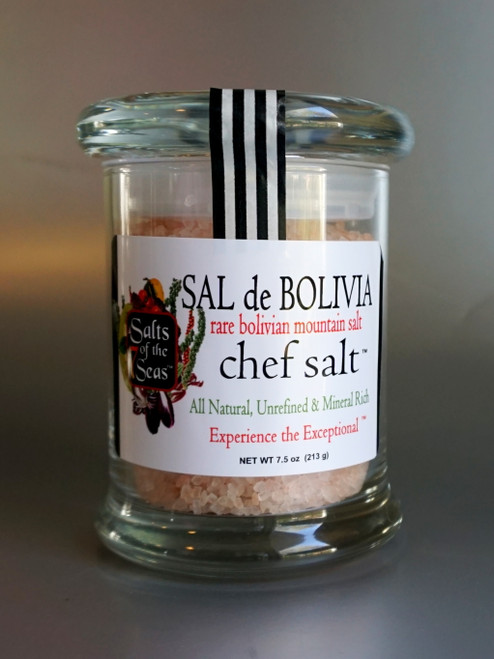 Sal de Bolivia gourmet pink sea salt is  mined from the mountains in Bolivia. Packaged in an air tight glass jar, it is the perfect finishing salt.