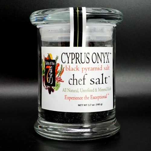 Cyprus Onyx sea salt gourmet black sea salt  has pyramid flakes combined with activated charcoal. It is the perfect finishing salt on baked potatoes, salads, baked bread  or any creation inwhich you want to bring out the chef in you!