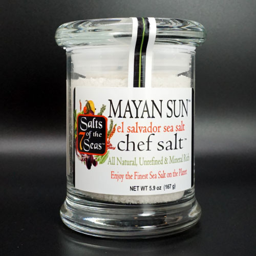 Mayan Sun gourmet  sea salt is a snowy white crystal from El Salvador. It is packaged in an air tight  chef's glass jar.