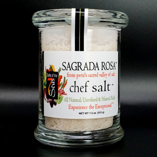 Sagrada Rosa gourmet sea saltis a  coarse Bolivian  pink sea salt and serves as the perfect finishing salt on corn on the cob, chicken, or fish. This exotic mineral rich sea salt is packaged in a air tight glass jar.
