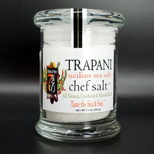 Trapani sea salt, sicillian sea salt, mild flavor, finishing salt, bring out the chef in you, air tight glass jar, perfect on vegetables, salads, pasta, roasts, artisan breads