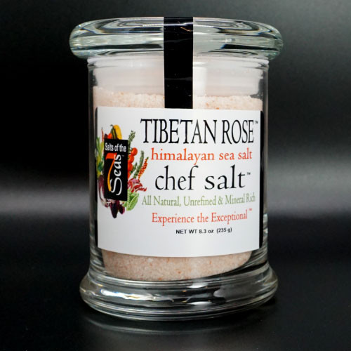 Tibetan Rose sea salt features a   Himalayan pink sea salt that comes in a chef size jar and is  a perfect finishing salt. Bring out the chef in you!