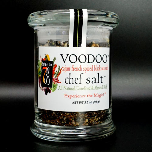 Voodoo sea salt is a sea salt blend including  tangy and spicy flavors with hints of toasted onion, cayenne pepper and Cyprus sea salt, all featured in a chef size glass jar.