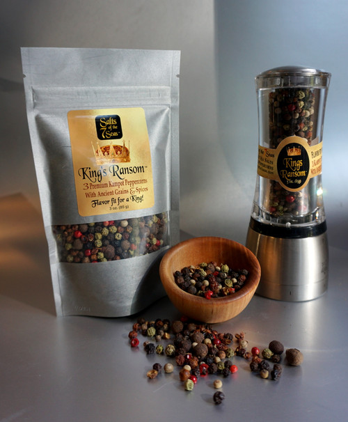 The King's Ransom Peppercorn Grinder with Bonus Refill Bag makes the perfect Gourmet Gift for any occasion.