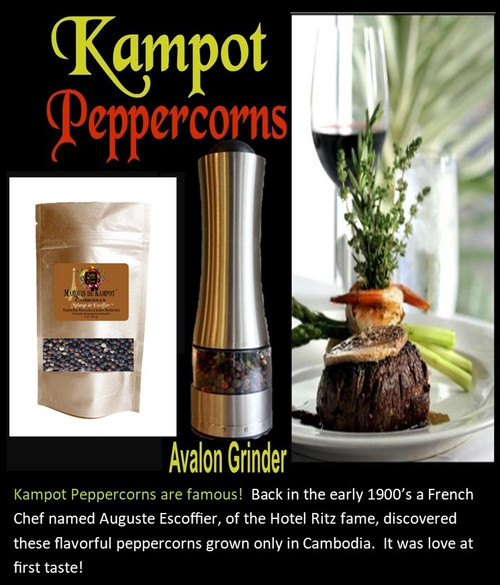Our 3 month membership  not only allows you to own our fantastic stainless steel, lighted pepper grinder with 7 grinding levels, but also gets you three of our exotic gourmet Kampot peppercorns!
