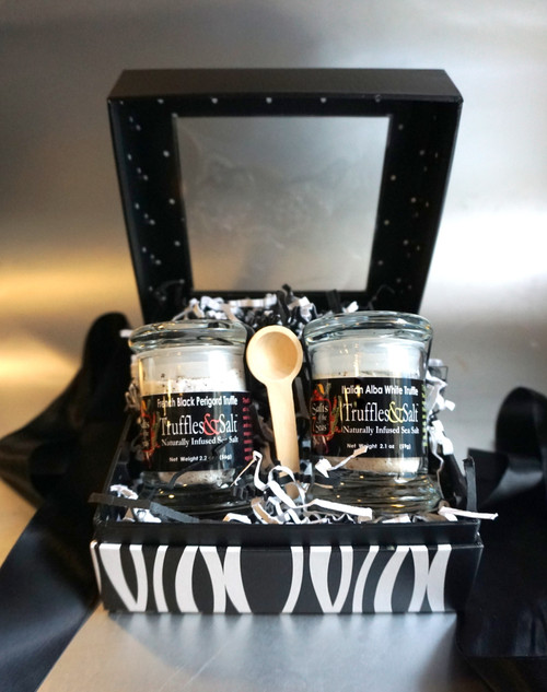 This European Truffle Sea Salt gift set is the perfect answer for any gourmet food lover, foodie or for the person who has everything! Enjoy  this truly unique gift set that includes the elusive  French Black Perigold Truffle infused Sea Salt and the aromatic Italian White Alba Truffle Infused sea salt. This beautifully designed gift set includes a crafted wooden serving spoon.