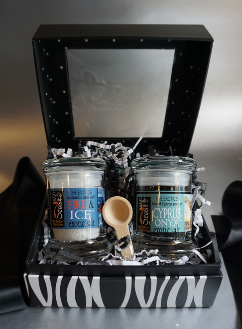 The Black & White Sea Salt Gift Set is the perfect answer for a attractively packaged, completely gourmet food gift. Free shipping is included in the price!