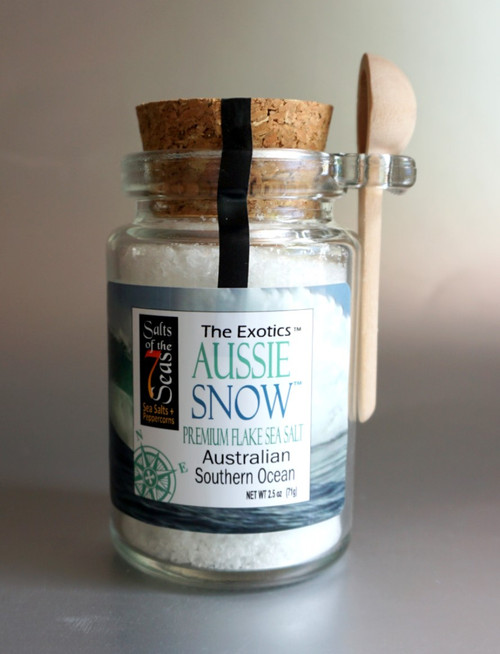This pristine white flake sea salt from the Australian Southern Ocean is a crisp, light flake that melts in your mouth.