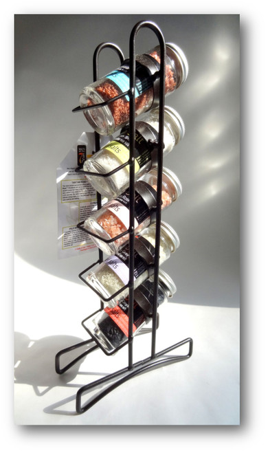 This display rack holds five different sea salts for your culinary creations.