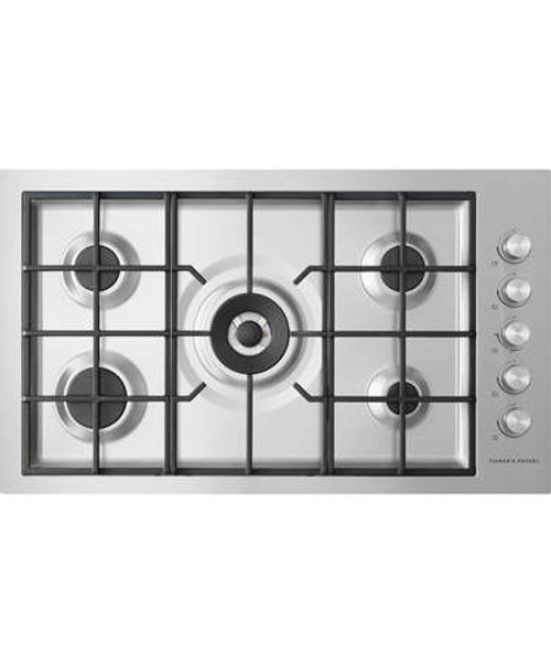 Fisher & Paykel 90cm 5 Burner LPG Gas on Steel Flush Fit Cooktop - Betta Online Only Price