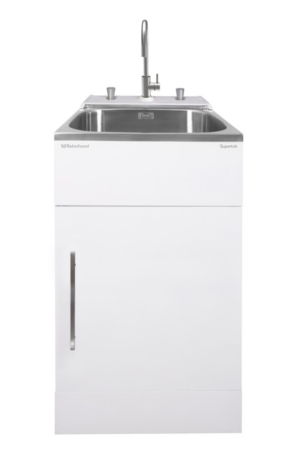 Robinhood White Supertub Rear Console Washing Machine Taps and S/S Goose Neck Tap