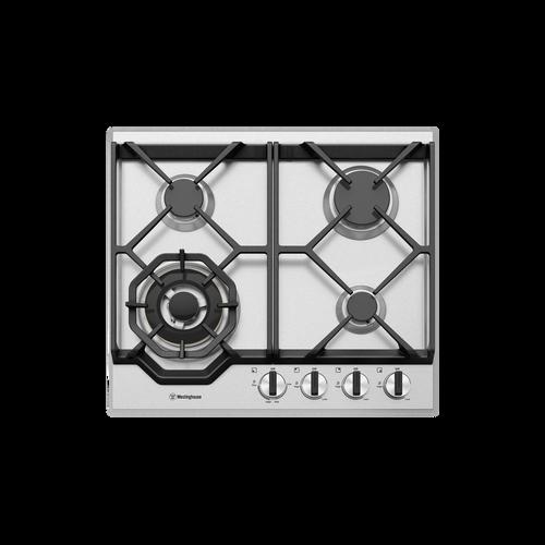 Westinghouse 60cm S/Steel 3 Burner with Wok Gas Cooktop
