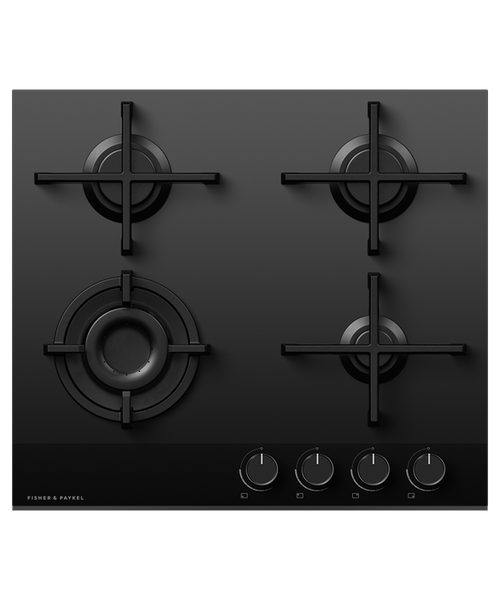 Fisher & Paykel 60cm Black Glass 4 Burner Gas Cooktop - Betta Online Only Price