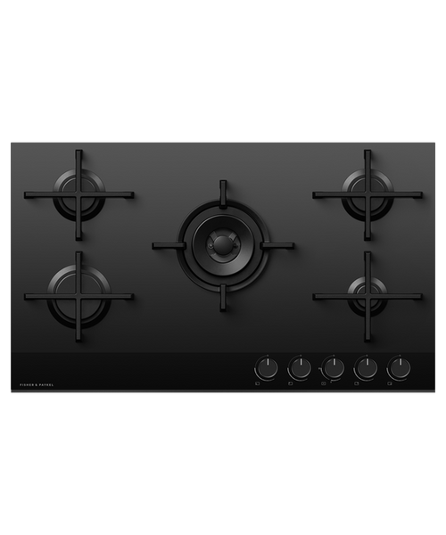 Fisher & Paykel 90cm Black Glass 5 Burner Gas Cooktop - Betta Online Only Price