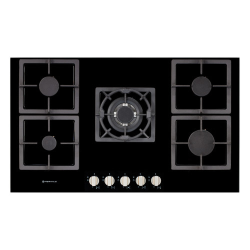 Parmco 90cm Black Glass 5 Burner Gas Cooktop - Betta Online Only Price